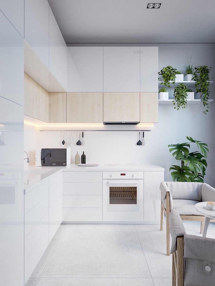 white and wooden cabinets, white tiled floor and counters, kitchen renovation, grey chairs