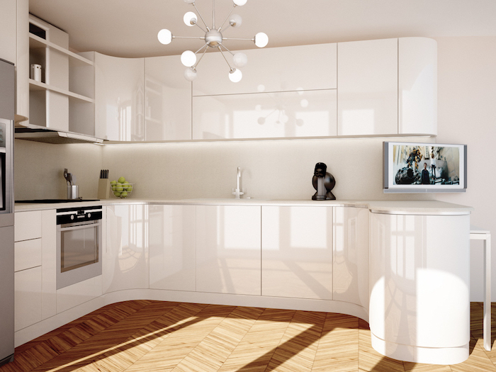 wooden floor, kitchen renovation, white cabinets and drawers, hanging chandelier