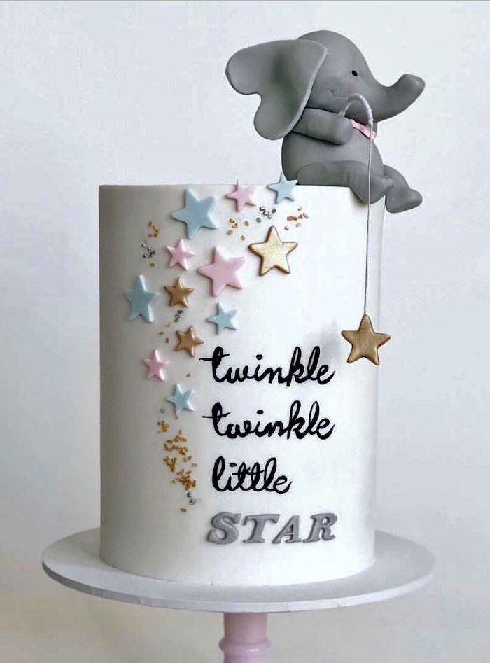 twinkle little star, pink blue and gold stars, unique baby shower themes, small grey elephant
