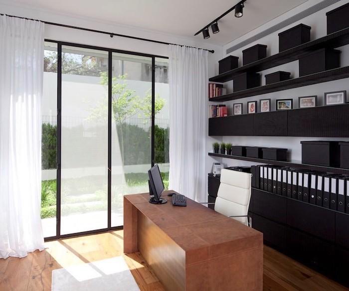 black shelves and cupboards, wooden desk, office design ideas, white leather chair, desktop computer