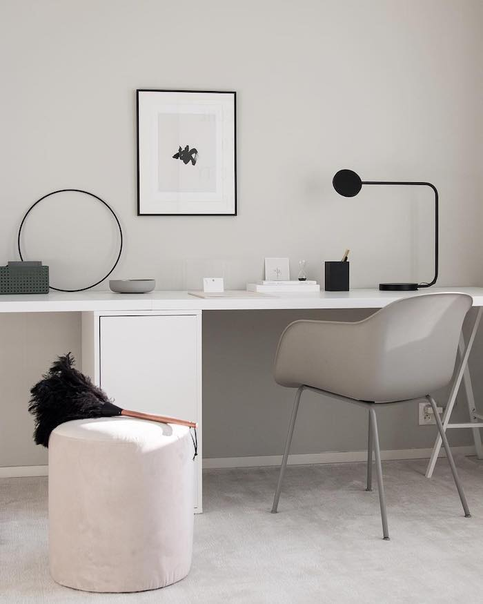 grey velvet rug, white desk and cabinet, home ideas, grey chair, white stool, small black desk lamp