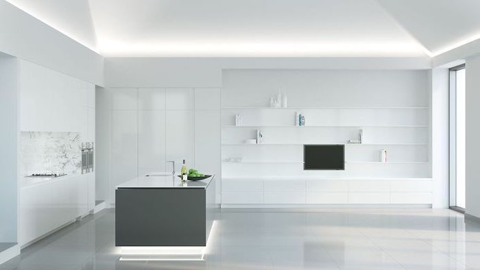 kitchen designs photo gallery, white cabinets shelves and counters, grey kitchen island, marble backsplash