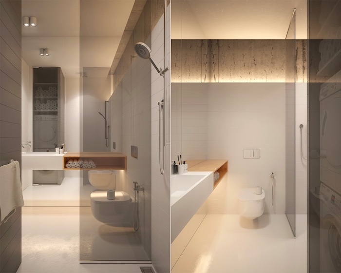 beige and grey tiled walls and floor, floating sink, bathroom ideas for small bathrooms, floating wooden shelf