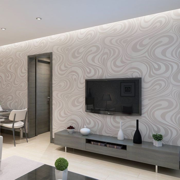 white and grey patterned wallpaper, grey wooden cabinet, dining room pictures for walls