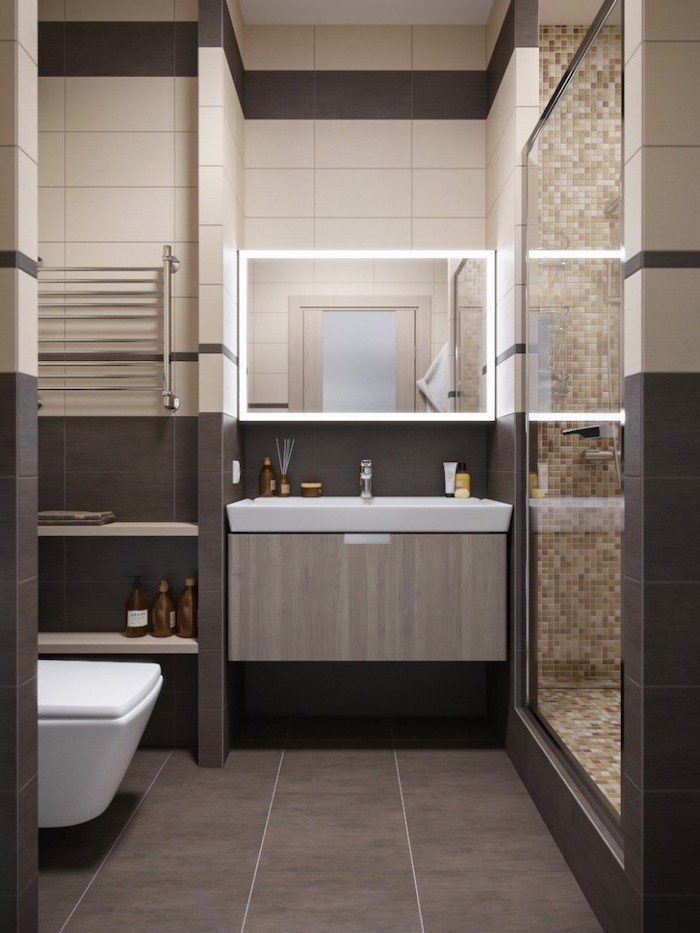 brown and beige tiled walls, mosaic walls, modern bathroom design, wooden floating cabinet