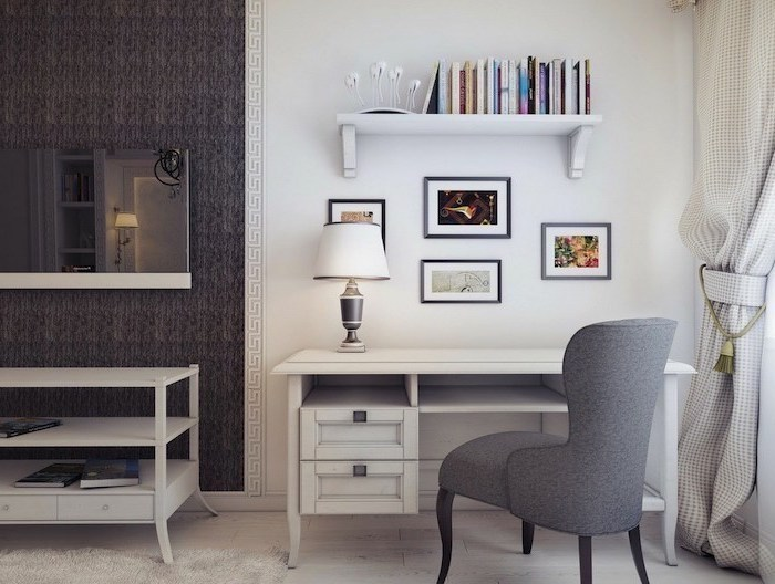 white wall and bookshelf, white desk with drawers, grey chair, home ideas, white rug