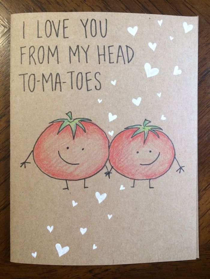 i love you from my head tomatoes, funny handmade card, white hearts, creative valentine's day gifts for boyfriend