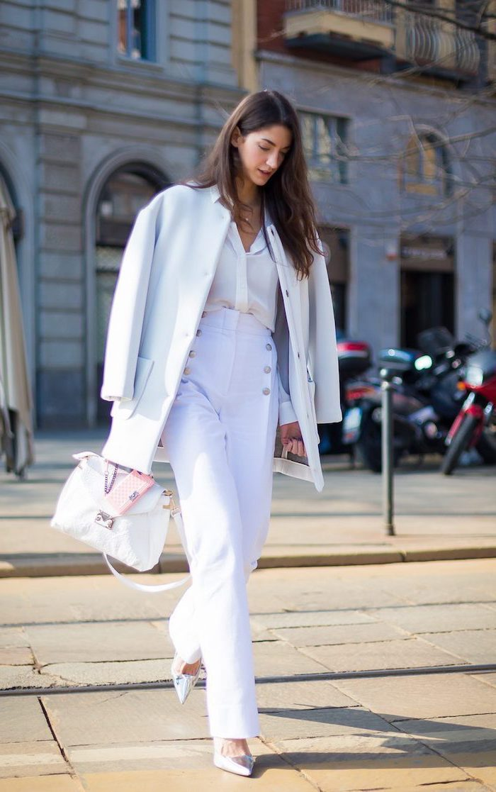 white high waist trousers, white long coat and shirt, silver high heels, business casual for women
