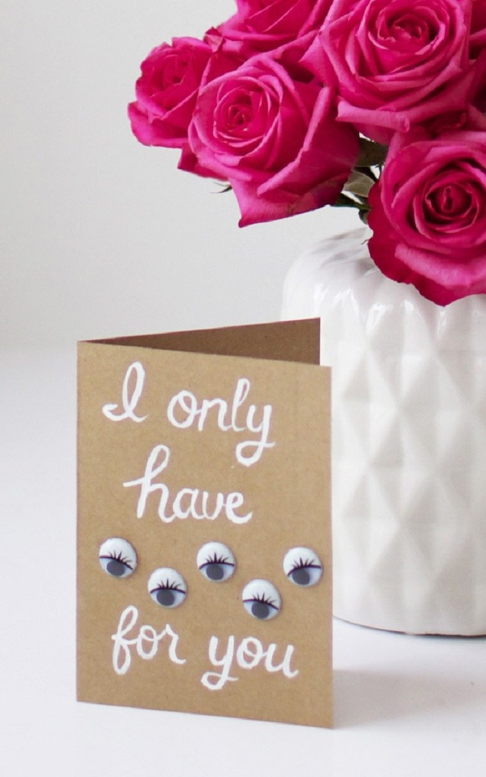 handmade card, i only have eyes for you, glued googly eyes, valentine's day gifts for boyfriend