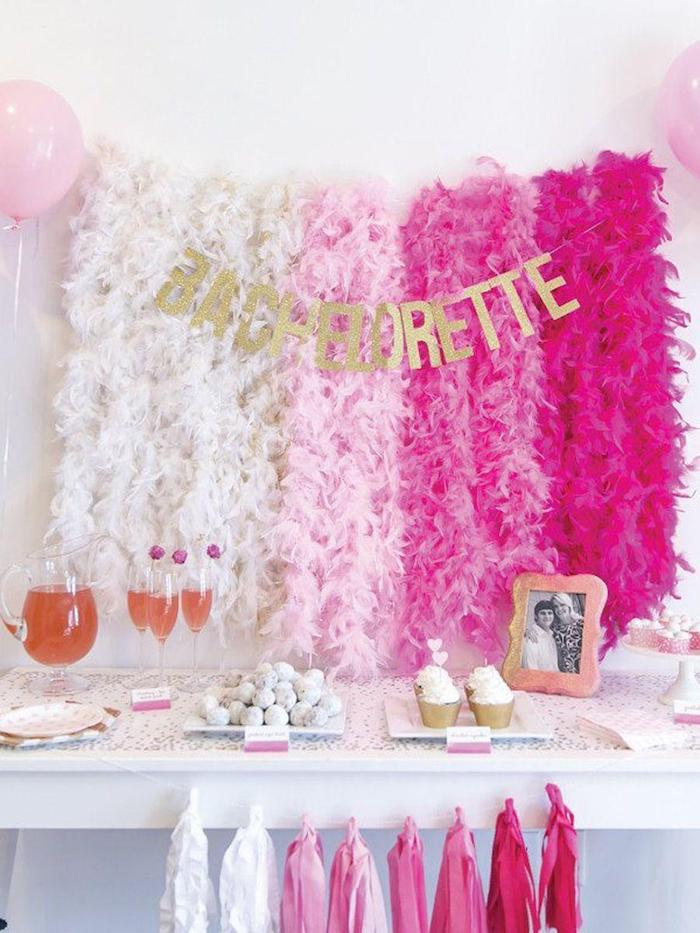 bachelorette glitter sign, fun bachelorette party ideas, shades of pink garlands, champagne flutes