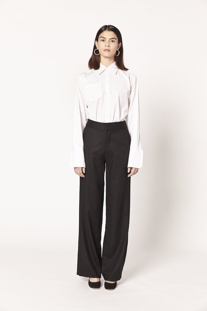 white shirt, black trousers, black velvet shoes, casual wear for women, round earrings