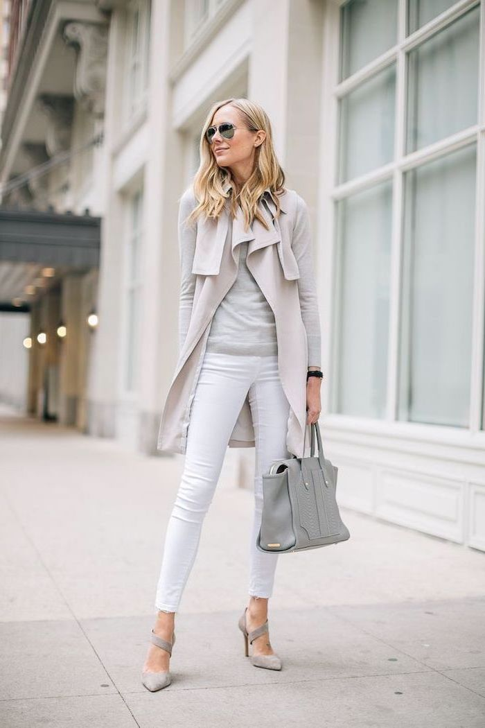 white trousers, business casual for women, grey blouse, long grey vest, grey heels and bag