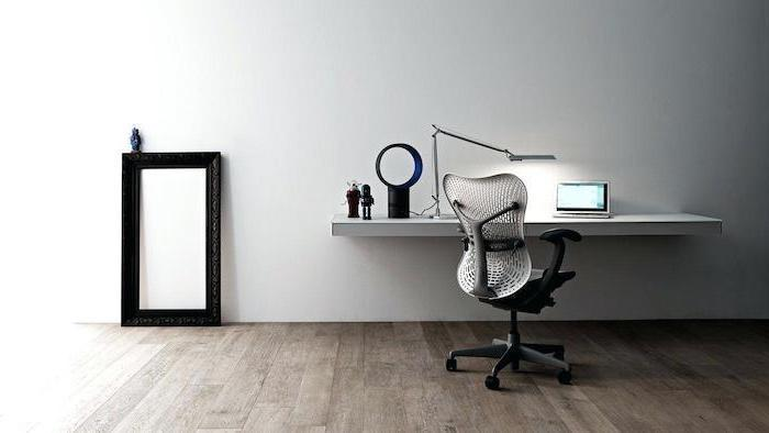 wooden floor, white desk mounted on wall, white mesh chair, office ideas, small metal desk lamp