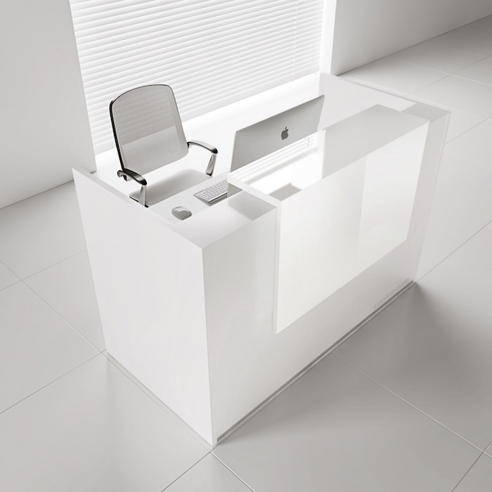 white mesh chair, white tiled floor and walls, white desk with a desktop computer, office ideas