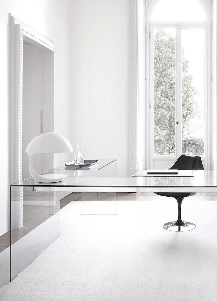 glass desk, black chair, white desk lamp, office ideas, white walls and rug