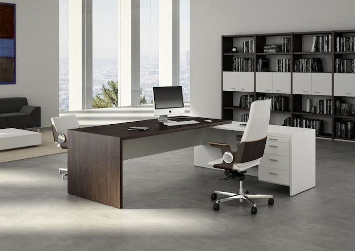 wooden desk, white drawers, living room desk, white and brown leather chairs, large bookcase