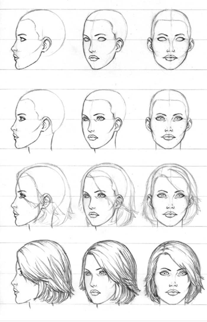 black and white sketch of a female face, frontal and profile drawing, how to draw a girl, short hair