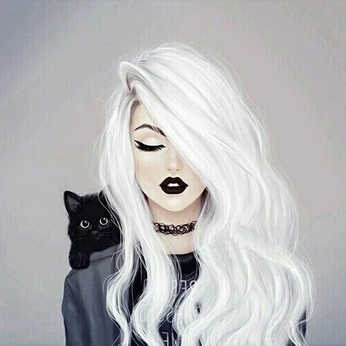 white hair, grey background, how to draw a girl step by step, black cat, drawing of a girl