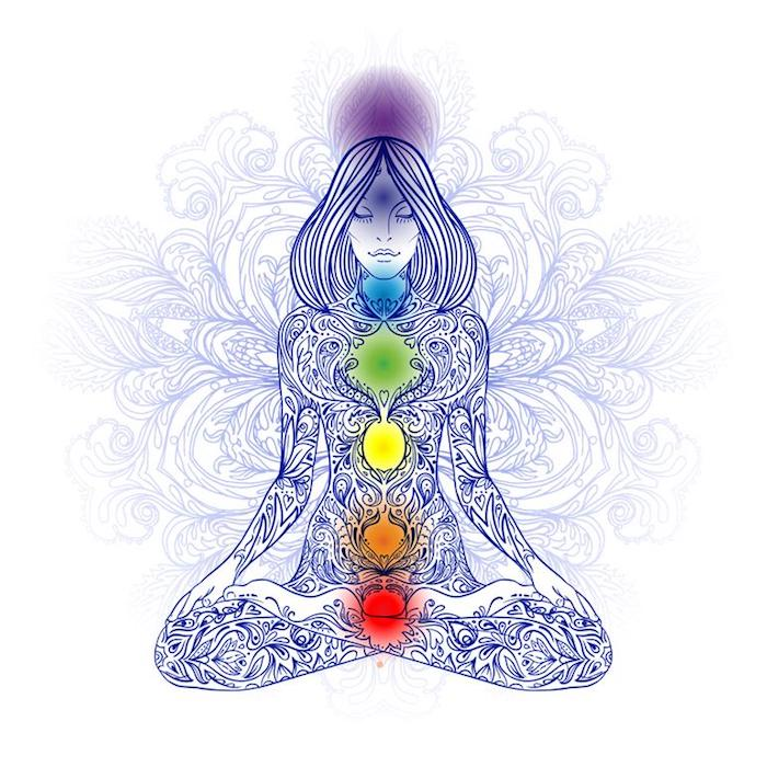 colourful chakras drawing, small tattoo ideas for men, white background