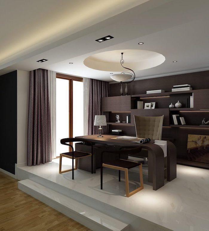 wooden bookcase with shelves, home office ideas, large wooden desk, beige, velvet chair, marble floor