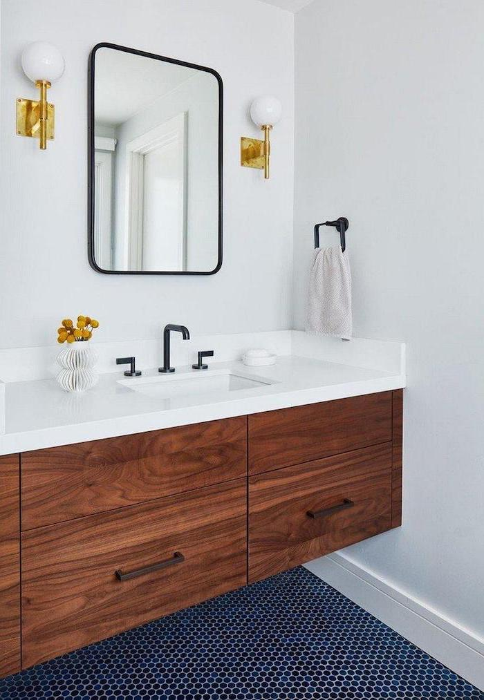 white walls, blue tiled floor, floating wooden cabinets, small bathroom ideas photo gallery, brass lamps