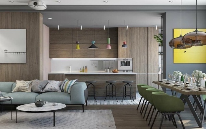 wooden wall and cabinets, kitchen designs photo gallery, blue sofa, white counters