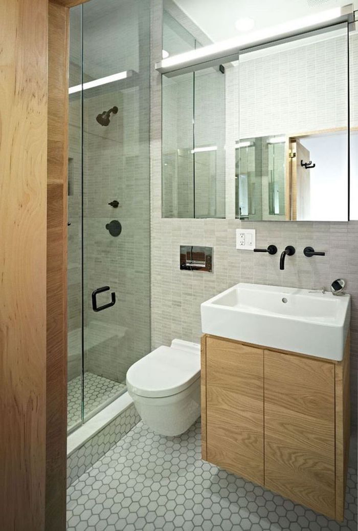 grey tiled mosaic walls and floor, small bathroom ideas photo gallery, large window, wooden floating cabinet