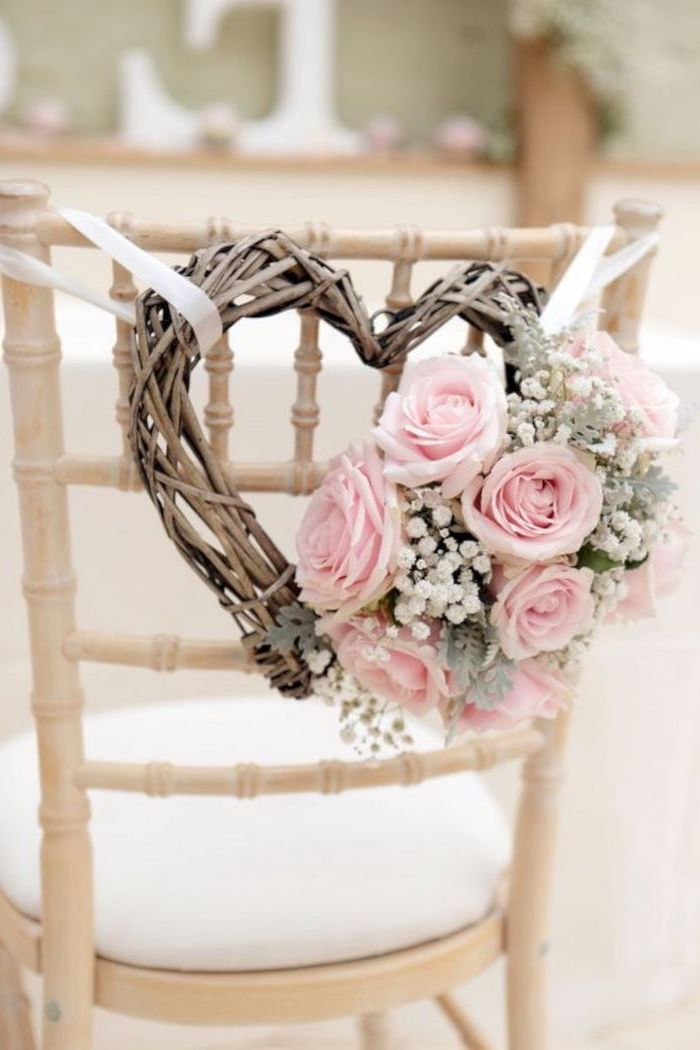 wooden heart with pink roses flower bouquet, white chair, wedding reception decoration ideas