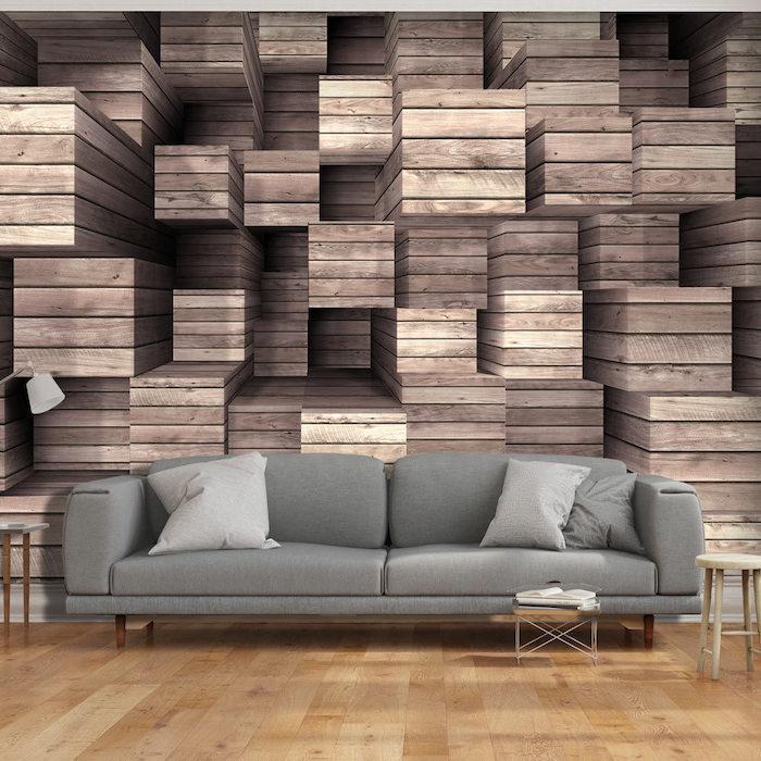 grey sofa, painting accent walls, wooden crates 3d wallpaper, wooden floor