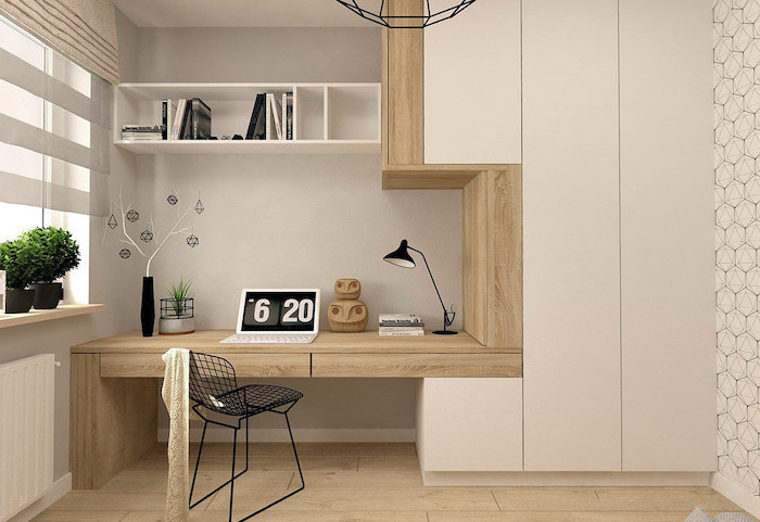 wooden desk, white bookshelf, black metal chair, work office decor, wooden floor and decorations