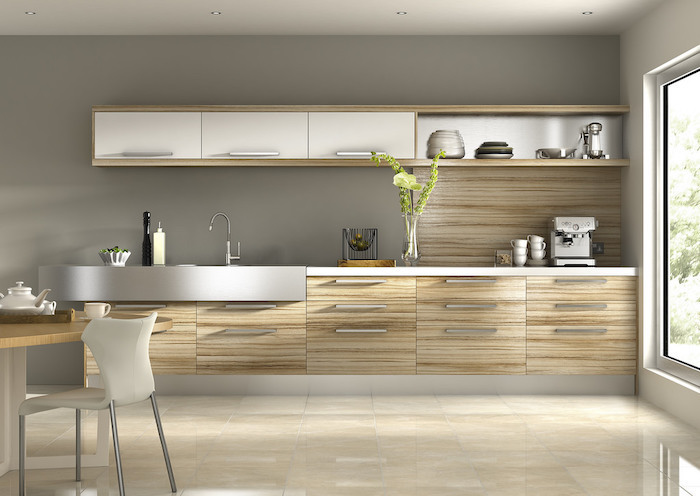 wooden backsplash drawers and cabinets, tiled floor, kitchen remodel ideas