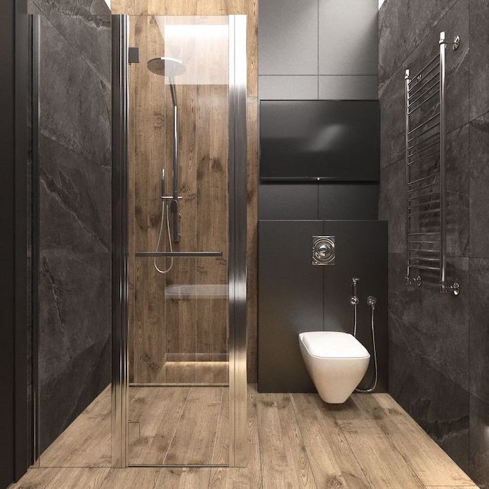 grey tiled walls, wooden floor, glass shower door, small bathroom ideas photo gallery