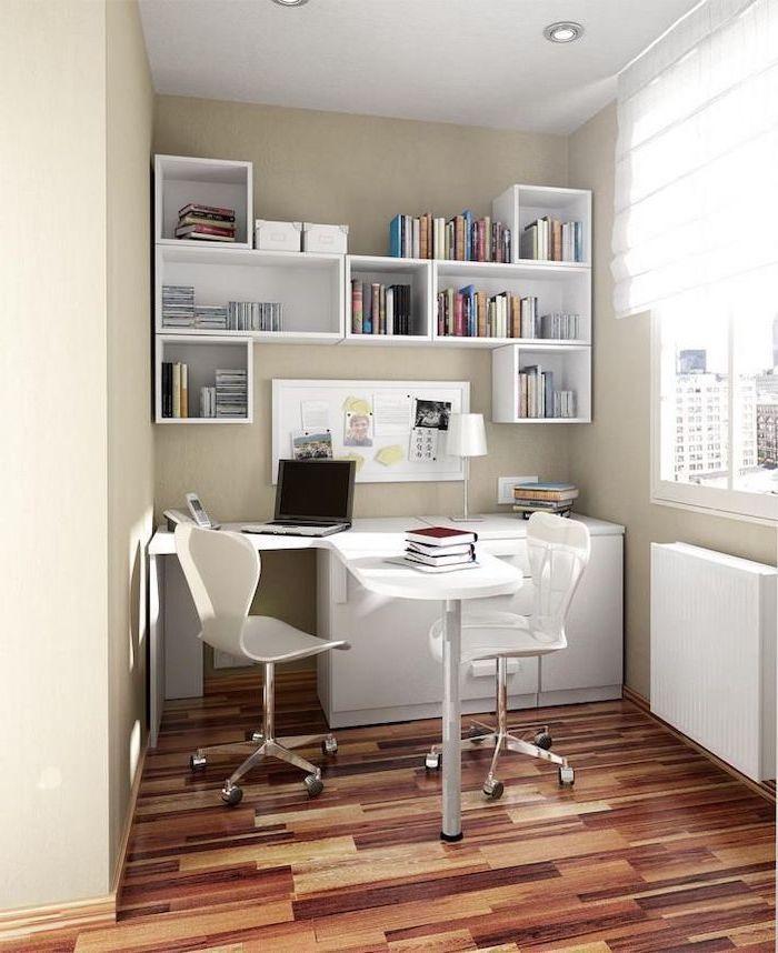 white bookshelves, white desk and mesh chairs, dark wooden floor, work office decor