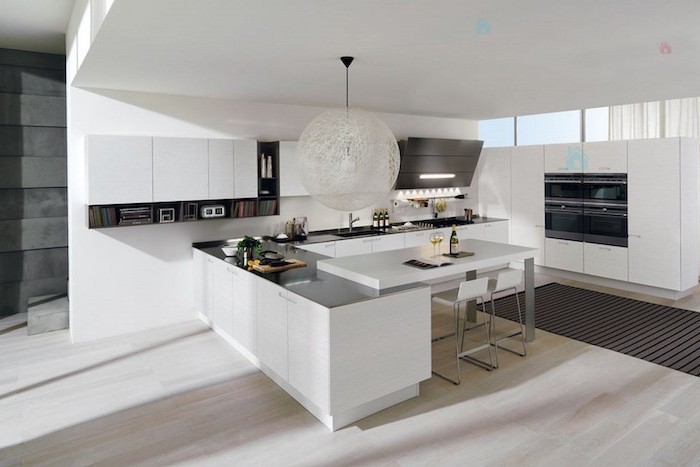 white cabinets and drawers, kitchen designs photo gallery, black counters and shelves, white stools