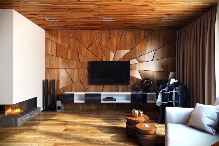 painting accent walls, wooden geometrical 3d wall installation, white sofa