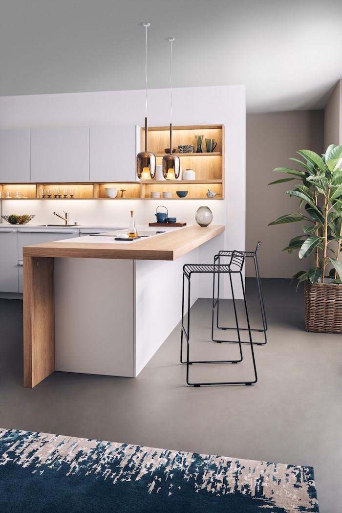 white and wooden kitchen island, metal black bar stools, kitchen renovation, white cabinets