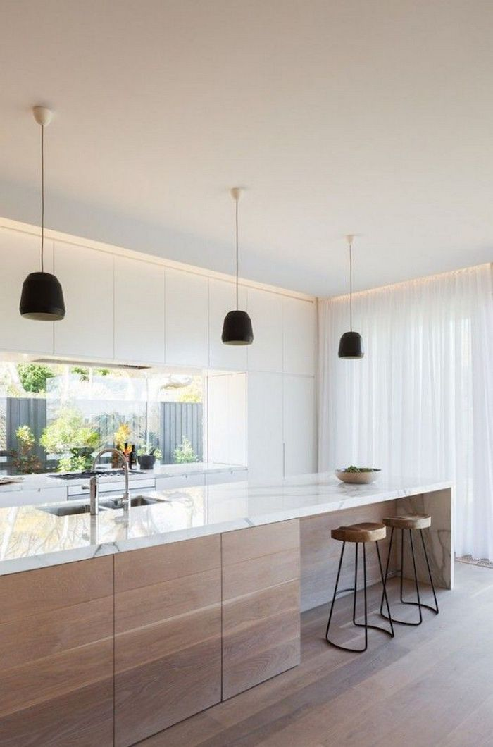 wooden kitchen island, white marble counter, white cabinets, wooden stools, kitchen designs photo gallery