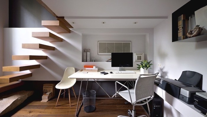 wooden staircase and floor, business office decorating ideas, white desk with white chair, grey mesh chair