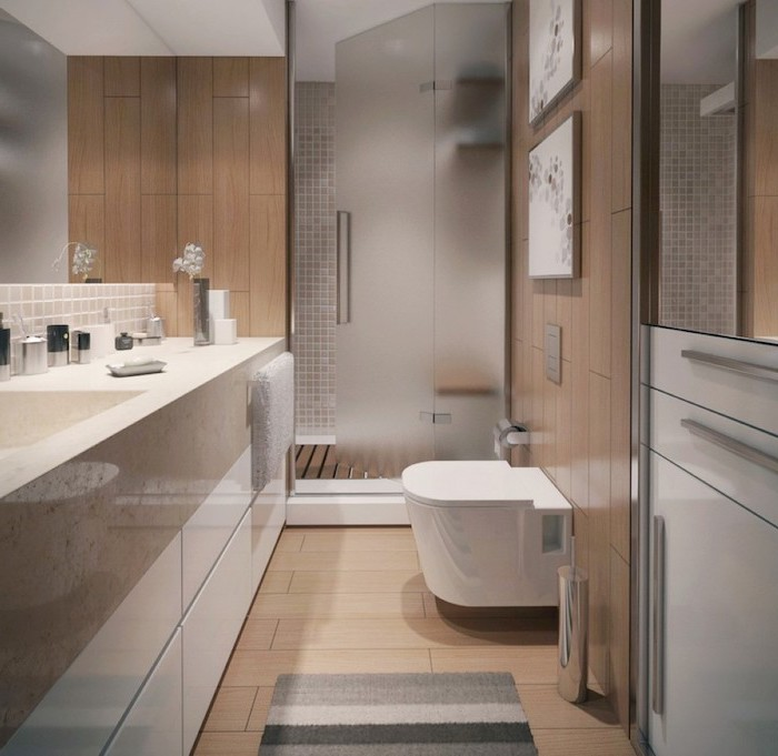 wood tiled floor wall, glass shower door, small bathroom remodel ideas, white cabinets under the sink