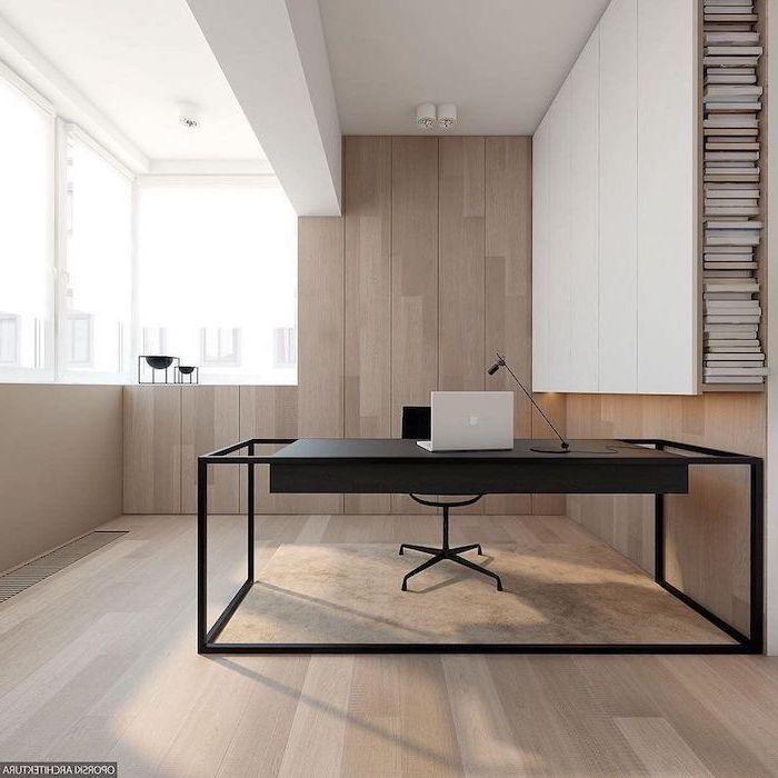 wooden wall and floor, beige velvet rug, black desk and chair, home office design, laptop and desk lamp on the desk