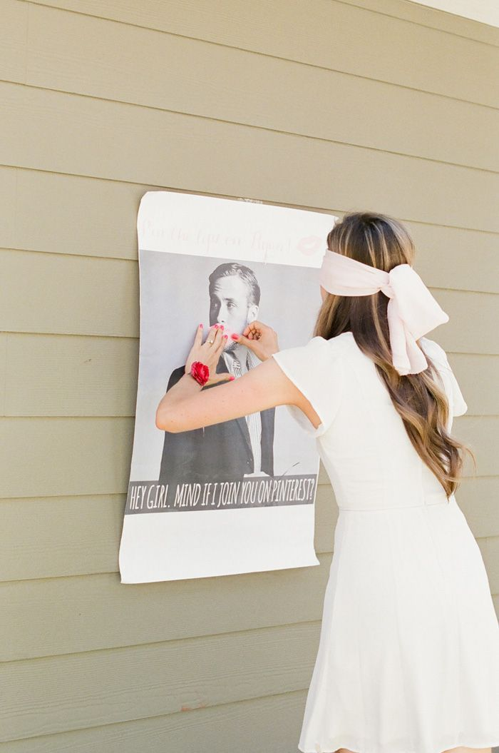 ryan gosling printout, bachelorette party game ideas, girl with a white dress, wooden wall