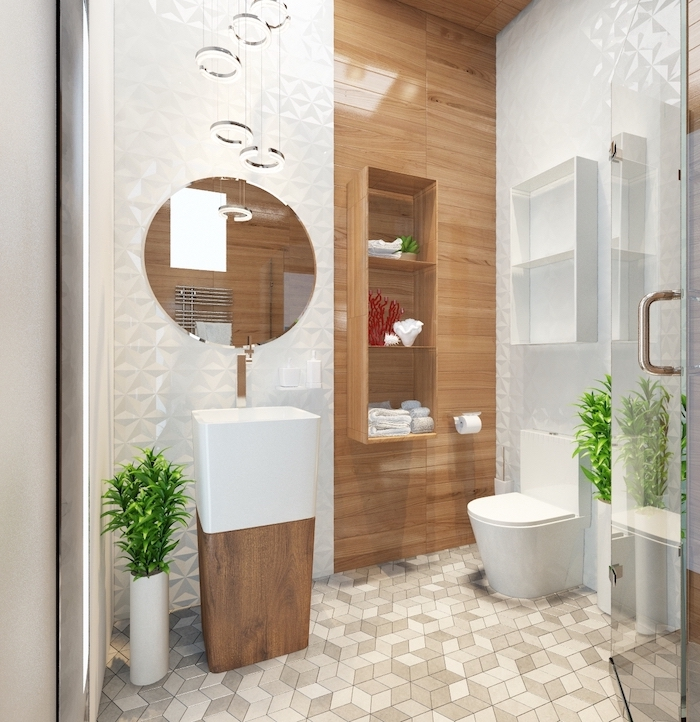wooden and white tiled walls, wooden cabinet and shelves, modern bathroom design, glass shower door