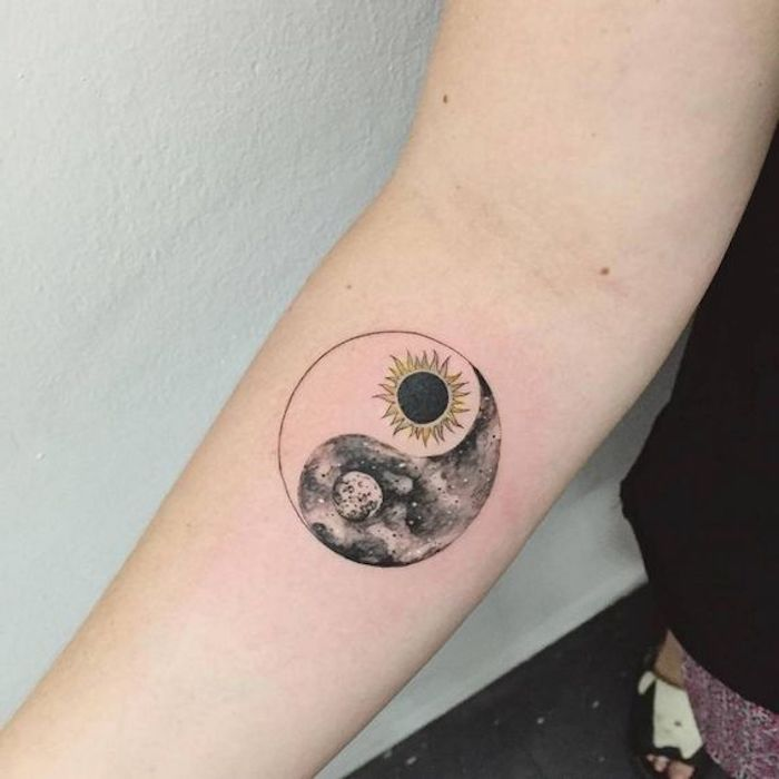 yin yang sun and moon, forearm tattoo, small tattoo ideas for men, white background