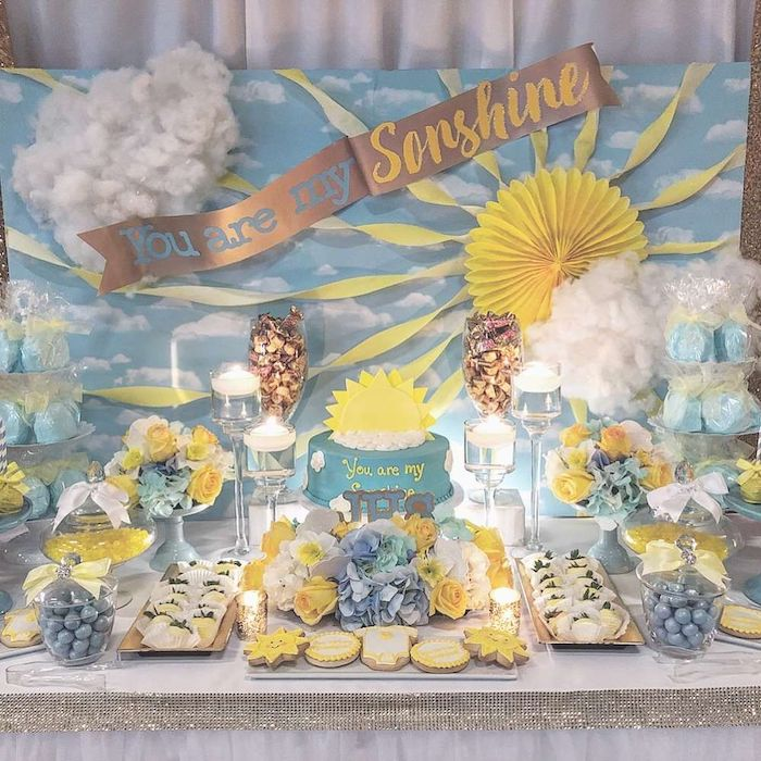 you are my sunshine banner, baby boy baby shower themes, cake and sweets on the table