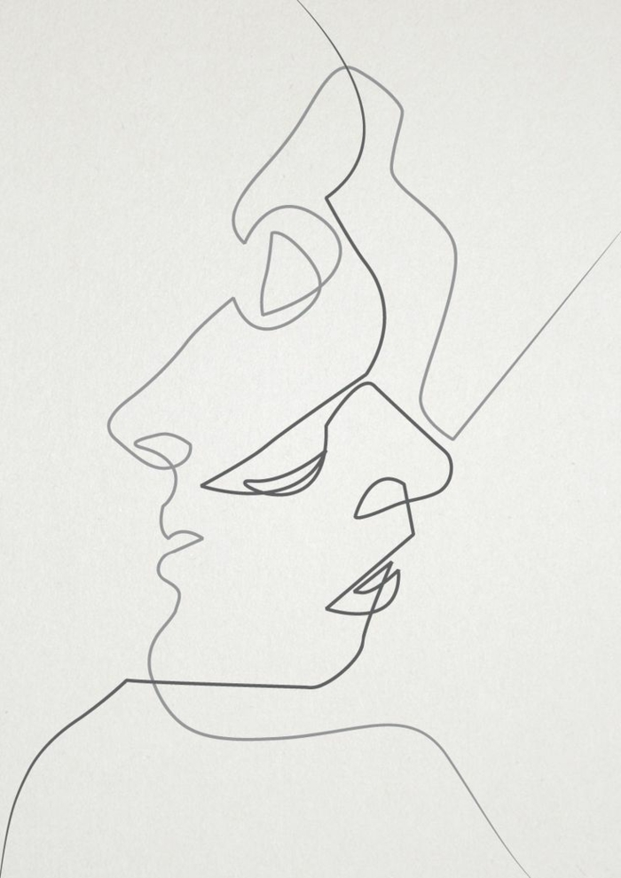 abstract drawing, drawn with lines, two faces, how to draw a girl, black and white sketch