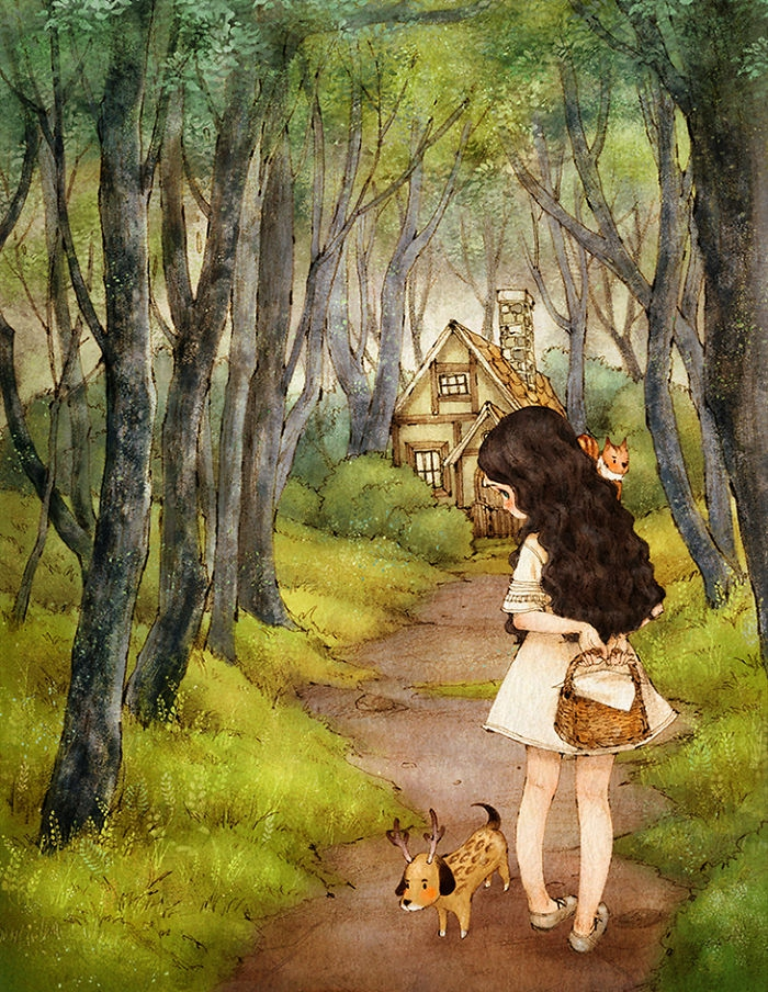 girl walking down a path, leading to a house, how to draw a girl, surrounded by trees and bushes
