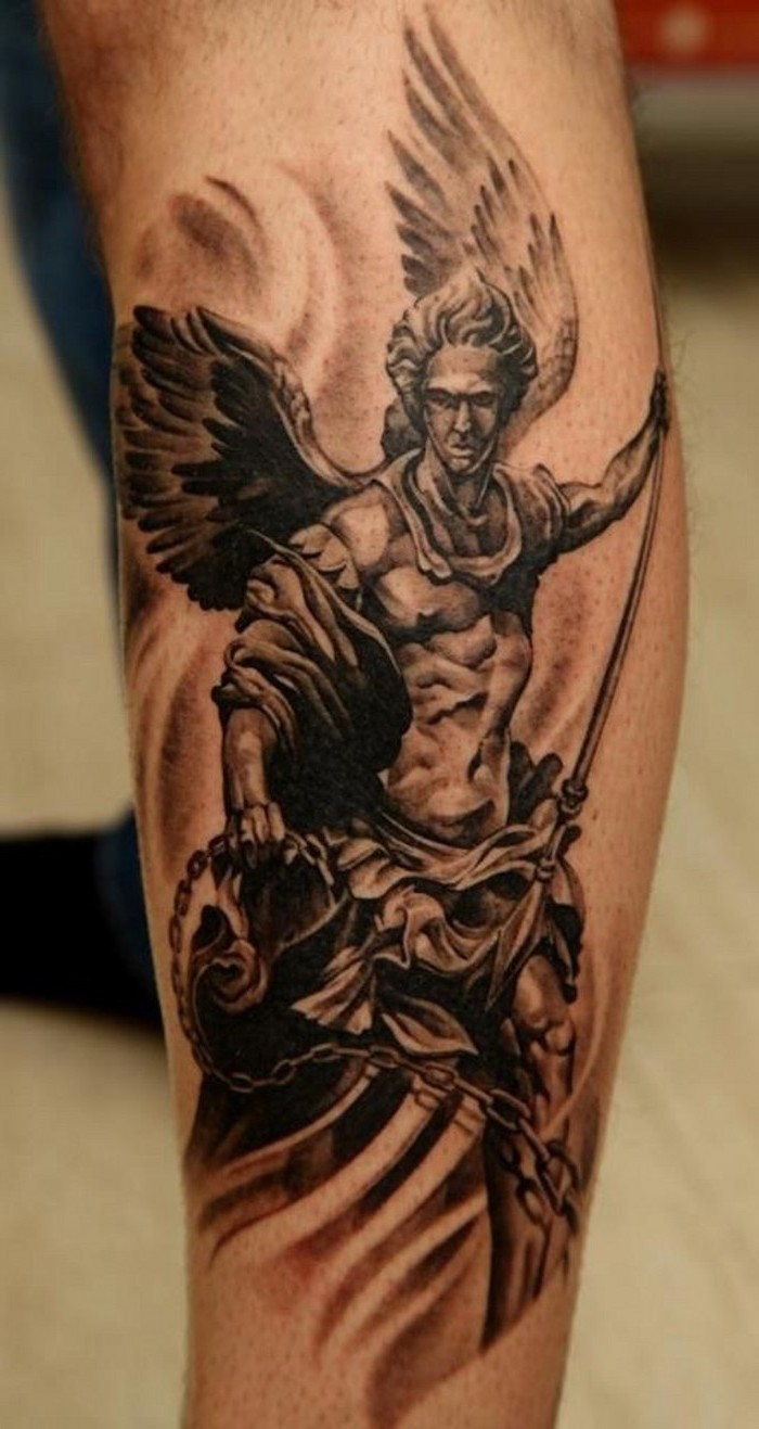 the archangel michael, leg tattoo, small tattoos for men, wooden floor, blurred background