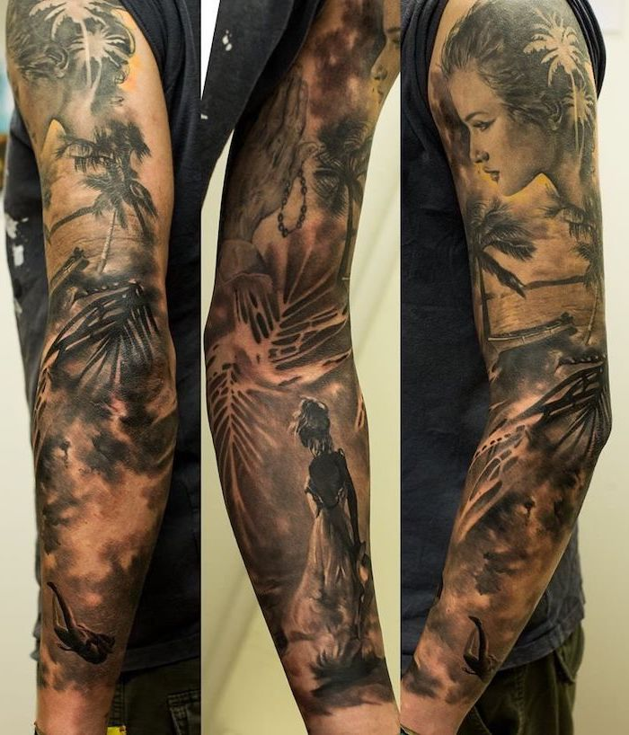 island life, arm sleeve tattoo, forearm tattoos for men, man wearing a grey top, white background