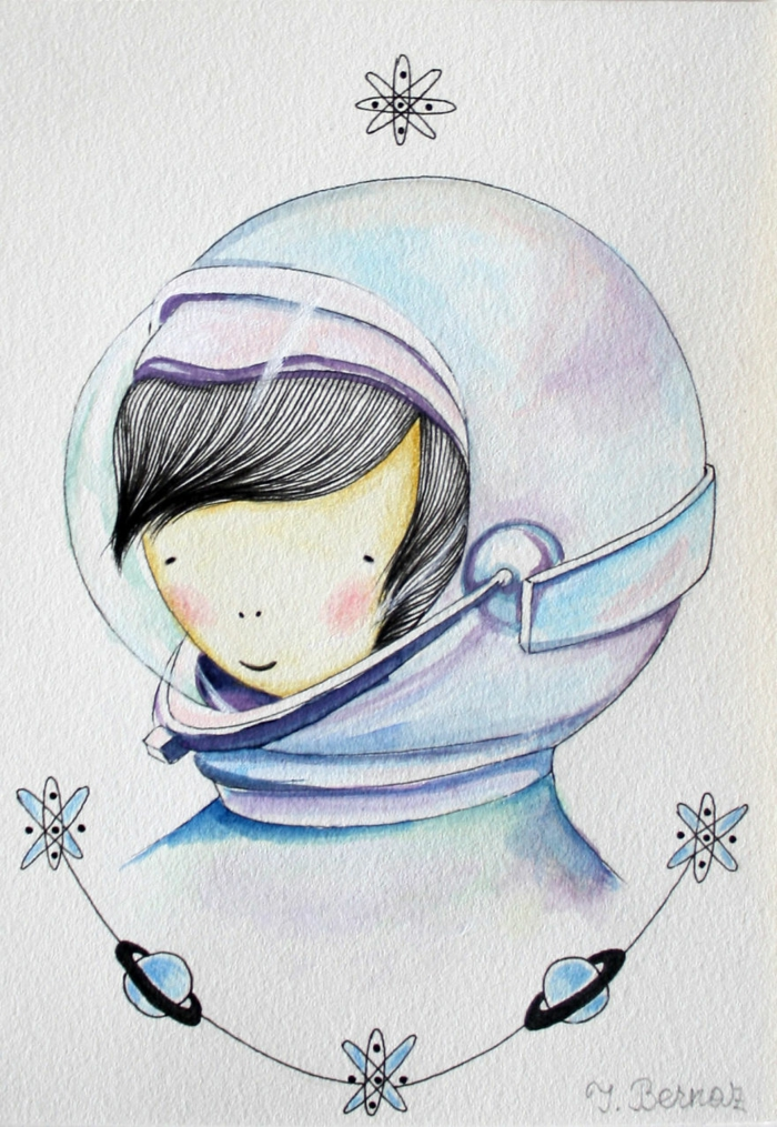 colourful astronaut suit, anime girl drawing, surrounded by planets and atoms, white background