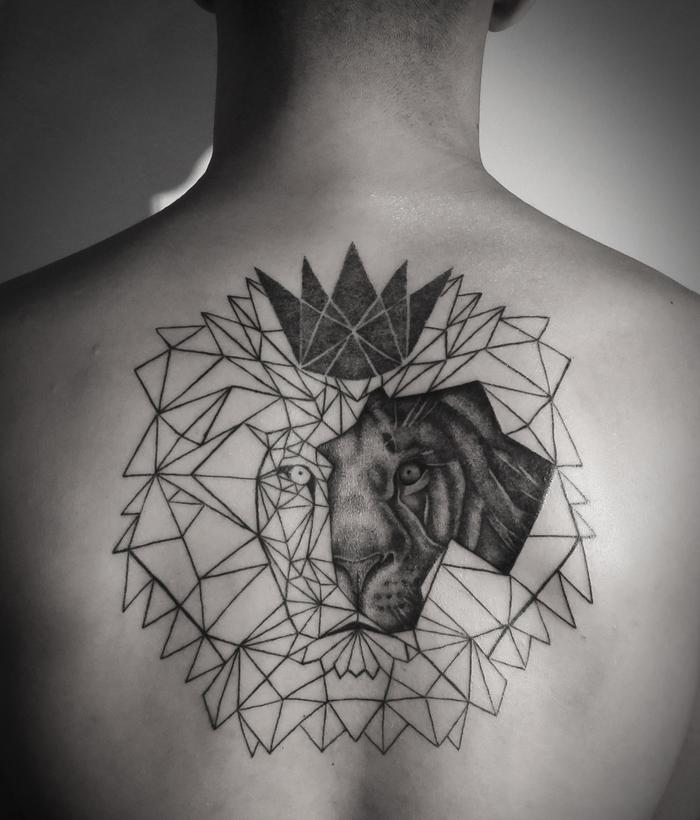 lion head, drawn with geometrical shapes, geometrical crown, back tattoo, flower of life tattoo